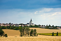 Village of Faye La Vineuse with tall spire, Loire Valley, France