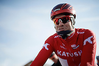 Alexander Kristoff (NOR/Katusha) at the start (ready to face the cold)<br /> <br /> Kuurne-Brussel-Kuurne 2016