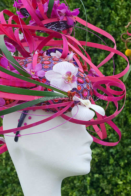 Hat Made from Orchid Flowers & Plants designed by Louise Roffey, Southwark College, London, England