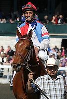 Groupie Doll and Rajiv Maragh win the 11th running of the Vinery Madison Grade 1 $300,000 at Keeneland racecourse.