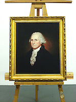 Portrait of George Washington, 1732-1799, Reproduction Of Rembrandt Peale (1778-1860)<br /> First President of the U.S. 1795. Oil on canvas, 75.6 x 64.1 cm. Location: National Portrait Gallery, Smithsonian Institution, Washington<br /> Framed Size: 37&quot; x 32 1/2&quot;  Stretcher Size: 29 3/4 x 25 3/8 Plus Frame Portrait from the National Portrait Gallery