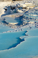 Photo  of Pamukkale Travetine Terrace, Turkey. Images of the white Calcium carbonate rock formations. Buy as stock photos or as photo art prints. 11 Pamukkale travetine terrace water cascades, composed of white Calcium carbonate rock formations, Pamukkale, Anatolia, Turkey