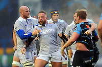 Max Lahiff of Bath Rugby is congratulated after a strong scrum earns his team a penalty. European Rugby Challenge Cup match, between Cardiff Blues and Bath Rugby on December 10, 2016 at the Cardiff Arms Park in Cardiff, Wales. Photo by: Patrick Khachfe / Onside Images