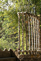 Bamboo screen at Las Pozas, the surrealistic sculpture garden created by Edward James near Xilitla, Mexico