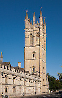Magdalen Great Tower is a bell tower in Oxford, England. It is one of the oldest parts of Magdalen College, Oxford, situated directly in the High Street. Built of stone from 1492, when the foundation stone was laid,[1] its bells hung ready for use in 1505, and completed by 1509, it is an important element of the Oxford skyline. At 144 feet (44 m) high to the top of its pinnacles, it is the tallest building in Oxford. It dominates the eastern entrance to the city, towering overMagdalen Bridge and with good views from the Botanic Garden opposite.