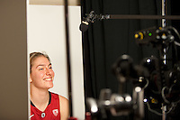 DENVER, CO--Toni Kokenis has a laugh while filming during media day at the Pepsi Center for the 2012 NCAA Women's Final Four in Denver, CO.