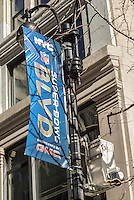 Super Bowl Boulevard is readied, with a surveillance camera seen on a light pole, in Midtown Manhattan in New York on Friday, January 24, 2014. Despite the game being held in New Jersey on February 2 sports fans are expected to pack New York to take part in the multitude of activities planned around the game. Security is expected to reach unprecedented levels and the NYPD has installed approximately 200 temporary surveillance cameras, in addition to the multitude they already have in place,  in the 13 block length on Broadway that will host the street fair for the week prior to the game. (© Richard B. Levine)