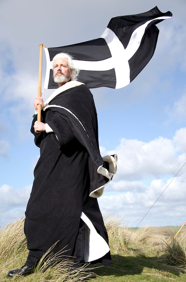Actor Colin Retallick portrays St Piran after a 3 act play, celebrating St Pirans day in Perranporth, Cornwall, March 2012