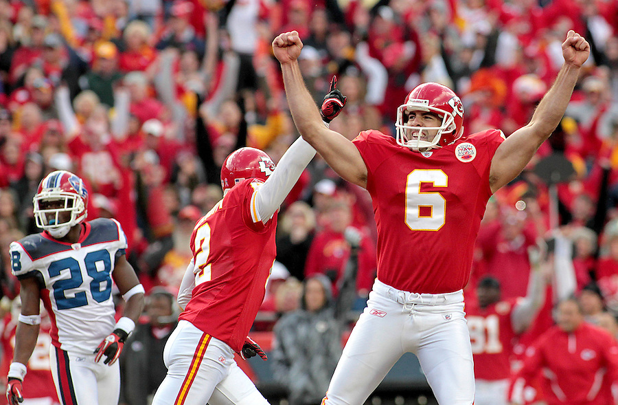 Oct. 31, 2010; Kansas City, MO, USA; Kansas City Chiefs place kicker Ryan Succop (6) celebrates after kicking the winning field goal in overtime to defeat the Buffalo Bills 13-10 at Arrowhead Stadium. Mandatory Credit: Crystal LoGiudice-US PRESSWIRE ..
