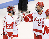Grant Rollheiser (BU - 35), Ryan Ruikka (BU - 2) - The Boston University Terriers defeated the visiting University of Toronto Varsity Blues 9-3 on Saturday, October 2, 2010, at Agganis Arena in Boston, MA.