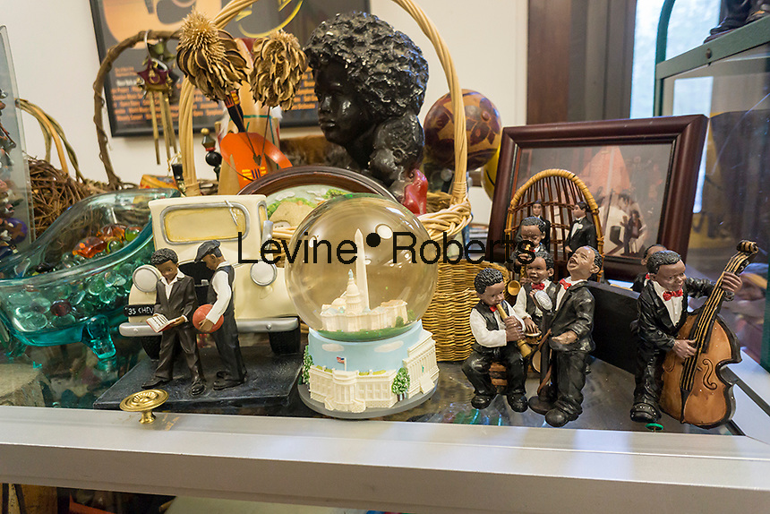 A collection of African-American paraphernalia in the Brownsville Heritage House in the Brownsville neighborhood of Brooklyn in New York on Saturday, May 7, 2016.  (© Richard B. Levine)