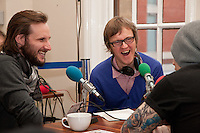 BBC Radio Leicester and BBC Radio 7 Joined forces for a recording to promote Leicester Comedy Festival at the city's Crumblin' Cookie Cafe. Comedian Kent Valentine (left) and presenter Alex Riley, speak with BBC Leicester presenter Jim Smallman.