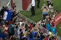 Santa Clara, California - August 2, 2014: San Jose Earthquakes face off against Seattle Sounders FC at Levi's Stadium on Saturday. San Jose defeated Seattle 1-0.