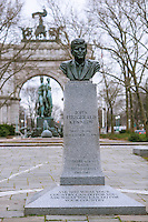 John F. Kennedy Memorial at Grand Army Plaza in Brooklyn in New York, sculpted by Neil Estern, 1965, seen on Tuesday, January 15, 2013. The monument to the late president, which is the only memorial to him in New York,  was renovated and rededicated in August 2010. This year is the 50th anniversary of the November 22, 1963 assassination of Kennedy. (© Richard B. Levine)