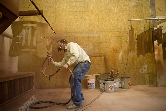 """Fundamentalist Mormon group F.L.D.S.,  Edson Jessop working in the wood shop """"Yearning for Zion"""" compound in Eldorado, Texas, USA, February 11, 2009"""