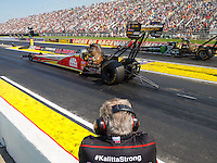 Sep 5, 2016; Clermont, IN, USA; Team owner Connie Kalitta watches as NHRA top fuel driver Doug Kalitta during the US Nationals at Lucas Oil Raceway. Mandatory Credit: Mark J. Rebilas-USA TODAY Sports