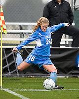 North Carolina defender Rachel Givan (16) takes a corner kick. North Carolina defeated Stanford 1-0 to win the 2009 NCAA Women's College Cup at the Aggie Soccer Stadium in College Station, TX on December 6, 2009.