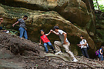 My husband, Ted, helps our older son Sam, age seven, climb up a canyon wall during a family vacation to Starved Rock State Park in Oglesby, Ill.