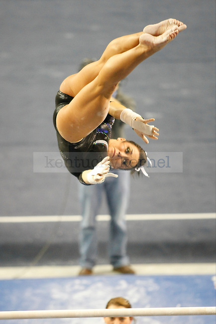 Sophomore Shelby Hilton performs at the uneven bars at UK gymnastics vs. LSU at Memorial Coliseum in Lexington, Ky., on Friday, February 1, 2013. Photo by Tessa Lighty   Staff