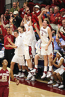 19 March 2007: Rosalyn Gold-Onwude, Christy Titchenal, Morgan Clyburn, Clare Bodensteiner, Jayne Appel and Melanie Murphy during Stanford's 68-61 second round loss to Florida State in the 2007 NCAA Division I Women's Basketball Championships at Maples Pavilion in Stanford, CA.