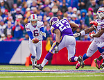 19 October 2014: Buffalo Bills punter Colton Schmidt places a 36-yard punt in the second quarter against the Minnesota Vikings at Ralph Wilson Stadium in Orchard Park, NY. The Bills defeated the Vikings 17-16 in a dramatic, last minute, comeback touchdown drive. Mandatory Credit: Ed Wolfstein Photo *** RAW (NEF) Image File Available ***