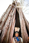 Winnemem chief and spiritual leader Caleen Sisk-Franco poses for a portrait in a traditional bark dwelling at their village called Tuiimyali in Jones Valley, Calif. March 17, 2010.