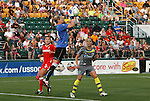 27 August 2011: Western New York's Ashlyn Harris (in blue) grabs the ball. Western New York Flash defeated the Philadelphia Independence 5-4 on penalty kicks to win the final after the game ended in a 1-1 tie after overtime at Sahlen's Stadium in Rochester, New York in the Women's Professional Soccer championship game.