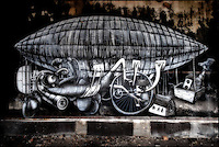 Painting by artist Phlegm in abandoned building in Sheffield, South Yorkshire