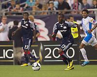 New England Revolution midfielder Sainey Nyassi (17) at midfield. The New England Revolution defeated Puebla FC in penalty kicks, in SuperLiga 2010 semifinal at Gillette Stadium on August 4, 2010.