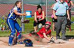 LITCHFIELD,  CT-051717JS10- Wamogo's  Samantha Sylvester (3) slides in safe at home to score in front of Nonnewaug's Ally Codianna (6), during their Berkshire League match-up Wednesday at Wamogo High School in Litchfield. <br /> Jim Shannon Republican-American