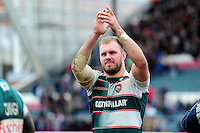 Lachlan McCaffrey of Leicester Tigers acknowledges the crowd after the match. European Rugby Champions Cup quarter final, between Leicester Tigers and Stade Francais on April 10, 2016 at Welford Road in Leicester, England. Photo by: Patrick Khachfe / JMP