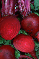 Beets 'Detroit Dark Red' cut open and whole vegetable