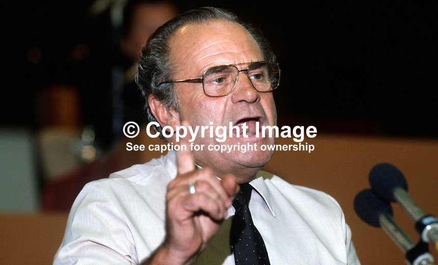 Ron Todd, general secretary, ATGWU, Amalgamated Transport &amp; General Workers' Union, trade union, UK, at Trades Union Congress annual conference 1984. 19840105RT3.<br /> <br /> Copyright Image from Victor Patterson, 54 Dorchester Park, Belfast, UK, BT9 6RJ<br /> <br /> t1: +44 28 9066 1296<br /> t2: +44 28 9002 2446<br /> m: +44 7802 353836<br /> <br /> e1: victorpatterson@me.com<br /> e2: victorpatterson@gmail.com<br /> <br /> www.victorpatterson.com<br /> <br /> IMPORTANT: Please see my Terms and Conditions of Use at www.victorpatterson.com