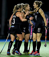 Erin Goad, Kirsten Pearce and Stacey Michelsen celebrate a goal during the international hockey match between the Blacksticks Women and India, Rosa Birch Park, Pukekohe, New Zealand. Tuesday 16  May 2017. Photo:Simon Watts / www.bwmedia.co.nz