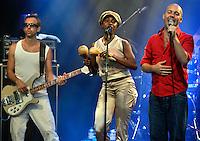 A band play during Göteborgskalaset, a festival held each summer in Gotehnburg.