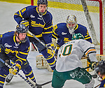 21 February 2015:  Merrimack College Warrior Forward Brian Christie (8), a Junior from West Chester, PA, guards the crease during first period action against the University of Vermont Catamounts at Gutterson Fieldhouse in Burlington, Vermont. The teams played to a scoreless tie as the Cats wrapped up their Hockey East regular home season. Mandatory Credit: Ed Wolfstein Photo *** RAW (NEF) Image File Available ***