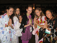 September 13, 2009; Mie, Japan;  Azerbaijan and Russian gymnasts: (L-R) Dinara Gimatova, Samira Mustafayeva, Vera Sessina, Daria Kondakova, Aliya Garaeva pose for portrait at banquet after 2009 World Championships Mie. Photo by Tom Theobald. .