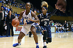 22 November 2016: Duke's Lexie Brown (4) and Old Dominion's MaKayla Timmons (2). The Duke University Blue Devils hosted the Old Dominion University Monarchs at Cameron Indoor Stadium in Durham, North Carolina in a 2016-17 NCAA Division I Women's Basketball game. Duke won the game 92-64.
