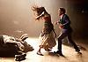 Carmen Disruption <br /> at Almeida Theatre, London, Great Britain <br /> press photocall<br /> 16th April 2015 <br /> <br /> <br /> John Light as Escamillo <br /> Viktoria Vizin as The Chorus <br /> <br /> <br /> Photograph by Elliott Franks <br /> Image licensed to Elliott Franks Photography Services