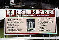 Singapore: Furama Singapore--Sign proclaiming new hotel, shopping complex. Photo '83.