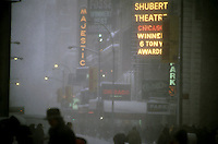The Shubert Theatre where Chicago was playing is seen during a winter snowstorm on December 30, 2000. (© Richard B. Levine)