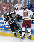 Brian Boyle (Boston College - Hingham, MA) hits Ethan Graham (Michigan State - Xenia, OH). The Michigan State Spartans defeated the Boston College Eagles 3-1 (EN) to win the national championship in the final game of the 2007 Frozen Four at the Scottrade Center in St. Louis, Missouri on Saturday, April 7, 2007.