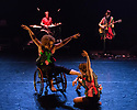 London, UK. 25.04.2017. Marc Brew presents the world premiere of BREWBAND, in the Lilian Baylis Studio, Sadler's Wells. The performers are: Martyn Garside, Marta Masiero, Jill O'Sullivan, Peter Kelly, Alice Sheppard, Graeme Smillie. Picture shows: Front: Alice Sheppard, Marta Masiero. Back: Martyn Garside, Graeme Smillie, Peter Kelly, Jill O'Sullivan. Photograph © Jane Hobson.
