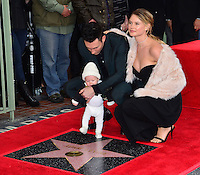 Adam Levine, Behati Prinsloo &amp; Dusty Rose Levine at the Hollywood Walk of Fame Star Ceremony honoring singer Adam Levine. Los Angeles, USA 10 February  2017<br /> Picture: Paul Smith/Featureflash/SilverHub 0208 004 5359 sales@silverhubmedia.com