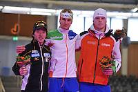SCHAATSEN: BERLIJN: Sportforum, 07-12-2013, Essent ISU World Cup, podium 1000m Men Division B, Keiichiro Nagashima (JPN), Thomas Krol (NED), Lennart Velema (NED), ©foto Martin de Jong