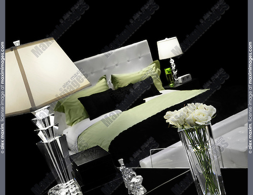 Stylish bedroom interior design in black white green colors Isolated on black background