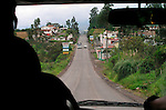 Driving on a highway  towards Cayambe, in the north central, Ecuador.