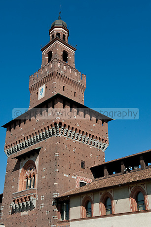 Detail of the Castello Sforzesco, Milan, Italy