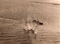 BNPS.co.uk (01202 558833)<br /> Pic: Bosleys/BNPS<br /> <br /> Amazing footage from Field's gunsite camera of the actual raid - another Beaufighter can be seen<br /> pulling up after straffing the ship.<br /> <br /> Archive of heroic survivor of 'Very Enjoyable' Black Friday raid in which 14 of his squadron died has been revealed.<br /> <br /> A stoic British pilot who survived a disastrous World War Two operation that became known as 'Black Friday' wrote in his logbook 'very enjoyable' afterwards. <br /> <br /> Flying Officer Robert Field's Bristol Beaufighter bomber escaped unscathed from the unsuccessful RAF attack on German shipping sheltering in a Norwegian fjord in February 1945.<br /> <br /> Ten RAF planes were destroyed in the sortie resulting in the deaths of 14 crew. Four more were taken Prisoner of War having baled out. <br /> <br /> His logbook has now been made available for sale at Bosleys auctionners for &pound;400.