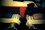 Pillows in a low-rate hotel in Chichicastenango, a market town in the northern highlands of Guatemala.